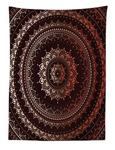 ABAKUHAUS Mandala Wandteppich Orientalisch Buddhismus und Hinduistischer Spiritualistisch Figurativer Musteraus Weiches Mikrofaser Stoff 110x150cm Waschbar mit Klaren Farben Braun