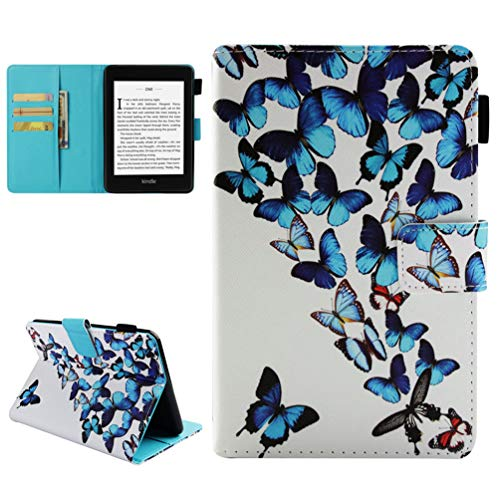 eBook Reader Hülle für Kindle Paperwhite 2018 10th Generation Case Leder Tasche Schutzhülle Flip Cover Einschlaf/Aufwach Abdeckung Klapphülle Ständer Karten Fächer Magnetlasche Deckel-Schmetterlinge