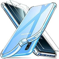 ivencase Coque Samsung Galaxy A40 + [2 Pièces] Verre Trempé écran Protecteur, Transparent Silicone Souple TPU Étui Ultra Mince Absorption de Choc Téléphone Housse pour Samsung Galaxy A40