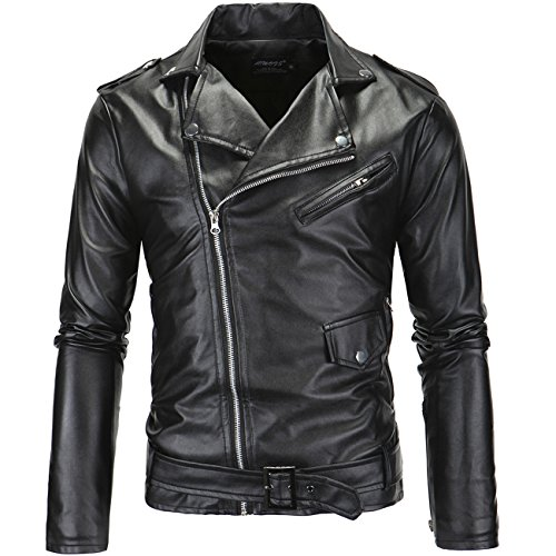 Herren Revers Biker Geneigt Zip Outwear Faux Leder Wash and Wear Jacken Coats (50er Jacke Leder Jahre)