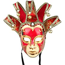YUFENG Dipinto a Mano Full Face giullare Jolly Joker Veneziano da Parete  Maschera Carnevale Costume a de61d5e4094d