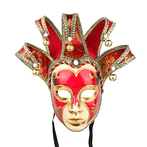 YUFENG Máscara Veneciana de Carnaval Pintada a Mano con Cara Completa Jester Jolly Joker, Color Rojo
