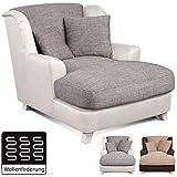 Cavadore XXL-Sessel Assado / Zweifarbiger Polstersessel in grau/weiß mit Holzfüßen, großer Sitzfläche, Polsterung und 2 weichen Zierkissen / 109x104x145 (BxHxT)