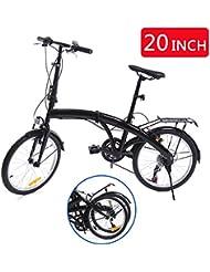 Ridgeyard 20 Inch 6-Speed Folding Foldable Bicycle with Rear Bracket LED Battery Light
