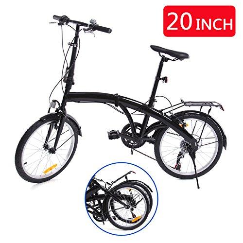 Ridgeyard 20 Zoll 6 Gang faltbares Fahrrad mit Heck Halterung LED Batterie Leuchte (Schwarz)