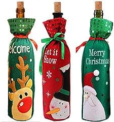Idea Regalo - Yongbest Coperchio Bottiglia di Vino di Natale,3 Pezzi Natalizia Sacchetto Regalo Vino Abito da Bottiglia di Vino per la Decorazione di Festa di Festa di Natale