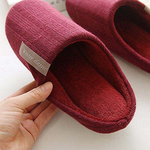 Mianshe Unisex Flauschige Warme Pantoffeln Damen Herren Slipper für zu Hause Blau