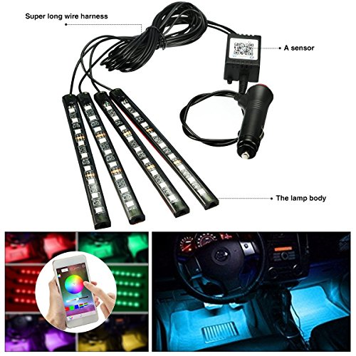 Car Bluetooth App Controlled RGB LED Strip Light Waterproof Light Strip Stripes with Android/IOS Cell Phone DIY Colour Car Truck Van Base Lighting Decoration (4x 5050 RGB Bluetooth App kontrolliert(wasserdicht))