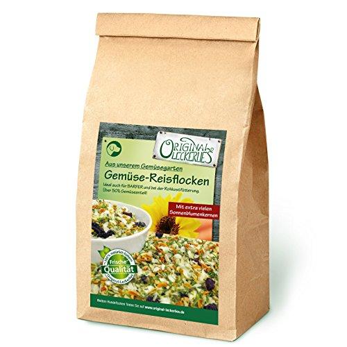 Original-Leckerlies: Gemüse-Reisflocken, 1 kg ballaststoffreiche Hundeflocken mit Gemüse und wertvollen Sonnen- und Hagebuttenkernen, Hundefutter- Naturprodukt für Hunde, barfen (Original Sonnenblumenkerne)