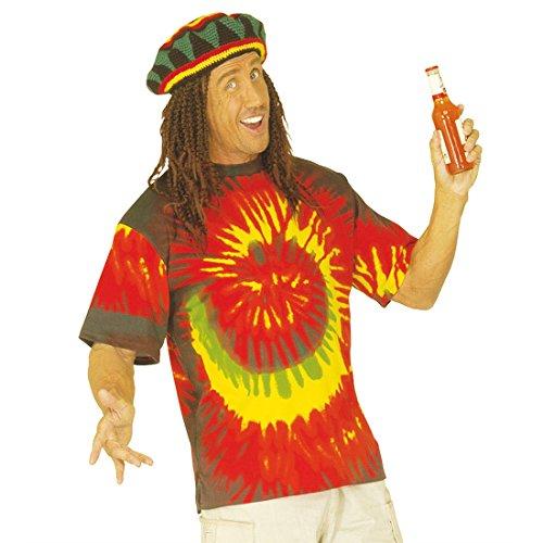 NET TOYS Rastafari Rasta Hippie Kostüm Batik Shirt Hippiekostüm Hippieshirt Rastaman bunt Baktikshirt Karneval L 50/52