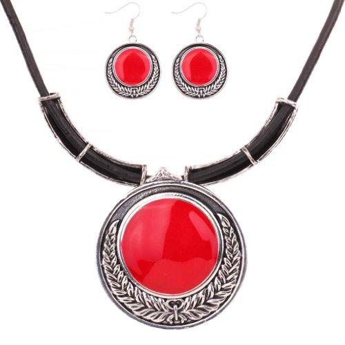 Yazilind Weinlese PU- Leder-Kette tibetischen Silber Rot runder Anhanger Bib Halskette Ohrringe Set Hochzeit
