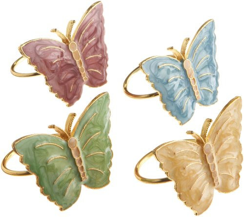 (Napkin Ring, Multi) - Butterfly Meadow Napkin Ring (Set of 4 ) Bardwil Set