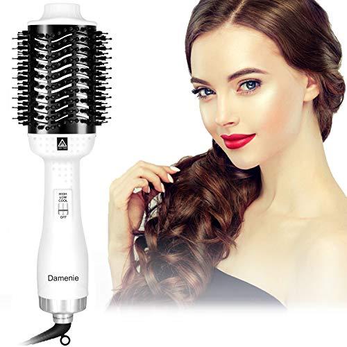 Damenie Haartrockner, 5 IN 1 Multifunktionaler Warmluftbürste Salon Hair Dry & Volumizer Heißluftbürste Föhnbürste Volumen Haarglätter Bürste Negativer Ionen Föhn für alle Haartypen