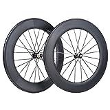 VCYCLE 700C 88mm Kohlenstoff Rennrad Fahrrad Radsatz Drahtreifen 23mm Shimano oder Sram 8/9/10/11 Speed (Vorderes Hinterrad)