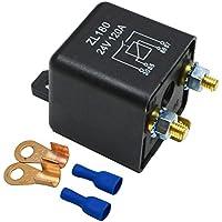 Ehdis® 24V 120A 4 Pin Relay Box Negro batería de coche de Automoción de vehículos pesados ??de camiones Van Barco Excavadora + 2 + 2 pines Huella Terminal [1 juego]