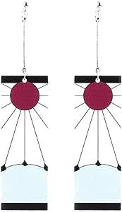 Sbarden Anime Demon Slayer Donne moda orecchini pendenti rettangolari moda geometrica selvaggia orecchini moda festa nuziale orecchini regalo gioielli