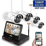 Wireless Video Surveillance Kit mit 10,1-Zoll-LCD-Bildschirm, SMONET 8 Kanal 1080 P NVR mit 4 Stück 1.3MP IP-Kamera (1280TVL) Security System Überwachungskamera (nicht enthalten Festplatte)
