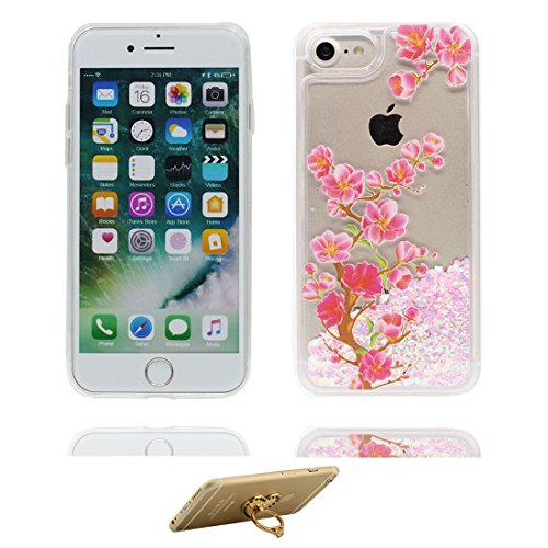 """iPhone 7 Coque, Skin Hard Clear étui iPhone 7, Design Glitter Bling Sparkles Shinny Flowing Apple iPhone 7 Case Cover 4.7"""", résistant aux chocs et ring Support (Lis Lily) # 5"""