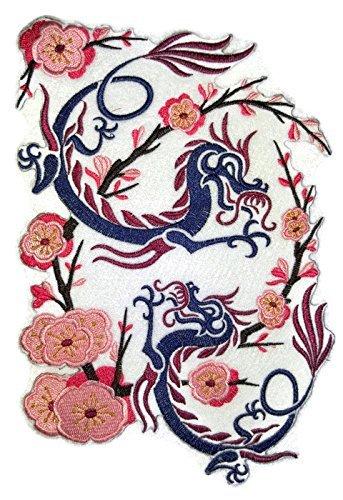 Beyondvision Encargo Dragon Asiático Parches De Costura Hierro Bordado Rosa, Azul, Marrón, Marrón