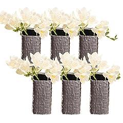 Idea Regalo - Chive-Weave, quadrato in ceramica vaso decorativo, vaso moderno per arredamento salotto centrotavola e eventi-all' ingrosso Bulk 6Pack-metallico cromato