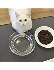 CONMING Alfombrilla de alimentación para mascotas FDA Alimentación de grado de silicona para mascotas bandeja de alimentación Impermeable antideslizante piso limpio para colchonetas de alimentos para perros y gatos (gris, Grande)