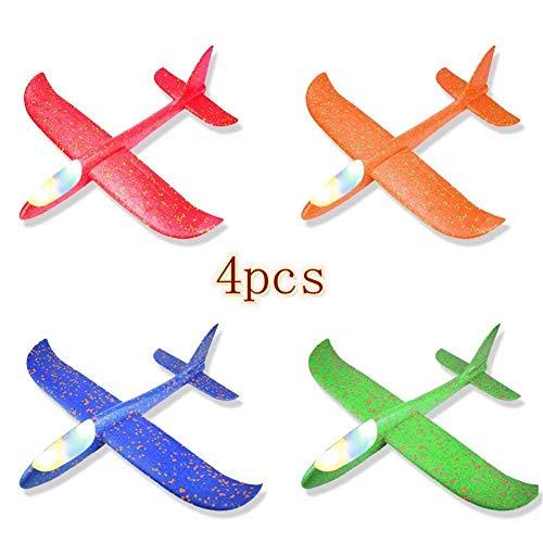 ter, 1 | 2 | 4 Stück Styroporflieger Flugzeug, Kinder Flugzeug Spielzeug Outdoor Wurf Segelflugzeug Werfen Fliegen Modell mit LED-Licht für Kindergeburtstag Spiele Preise ()