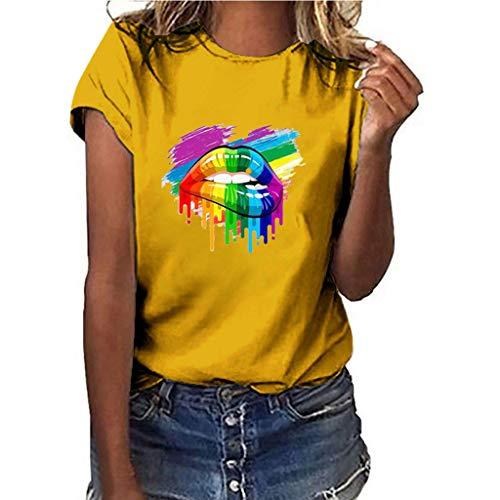 hen Plus Size S-3XL,Lips Print Shirt Kurzarm T-Shirt Bluse Tops Shirts - Lippen Mund Damen Rundhals(Gelb,M) ()