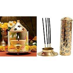 buycrafty Akhand Diya lámpara de aceite & Soporte de seguridad para incienso Agarbatti Stand Feng Shui Religiosa decorativa enorme riqueza artesanía de la India