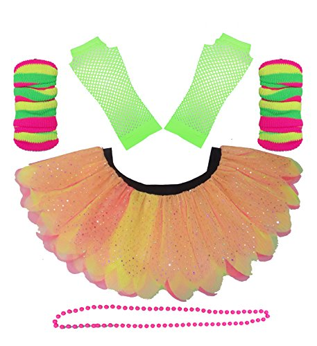 Ladies Plus Size Neon 5 Layer Petal Diamante Princess Tutu Skirt Set