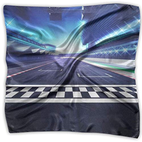 Finish Line On Racetrack Print 100% Silk, Silk Scarf Square, Small Handkerchief, Bandana Classic Square Scarf Small Line-sauce