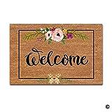 RUIWSFEU Tapis de Porte d'entrée, Tapis de Porte antidérapant Motif Floral bienvenu, Tapis de Porte Avant, décoration extérieure, Tapis de Sol intérieur Rigolo, A1, 18x30 Pouces