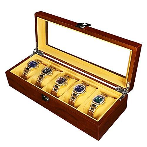 WCX Uhrenbox , Herrenuhr Aus Holz Mit 5 Slots Und Glas-DisplayMetallschnalle Mit Herausnehmbaren Pads (Size : 36.5x12x8.5cm) -