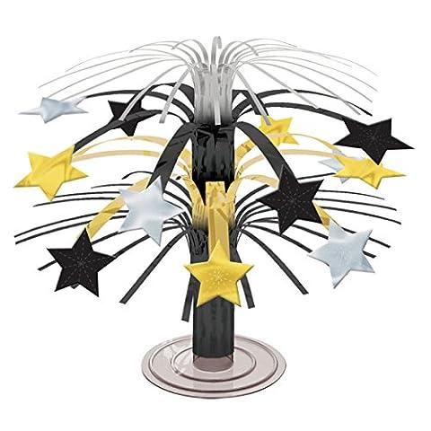 3 x Black, Silver & Gold Stars Mini Cascade Centrepieces - Argento Cascade Centrotavola