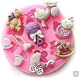 lesmartzyn (TM) 3d alimentos silicona Baby Oso de//del pie/Pájaros forma fondant moldes, jabón vela Sugar Craft Herramientas chocolate Bakeware by hecho a mano