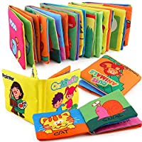 6 Pcs CLOTH BOOK Baby Soft Books for 1-36 month Educational Toy for Boy & Girl, Touch and Feel activity Washable Fabric