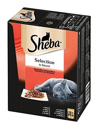 Sheba Selection in Sauce, Katzenfutter im Frischepack, Nassfutter für die täglichen Verwöhnmomente (In Lamm Katzenfutter Dosen)