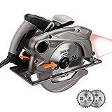 Sierra Circular 1500W 230V 4500RPM Tacklife PES01A con Guía Láser, 2 Discos:185mmx20mm de...