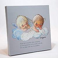 """Cuadro Infantil Angelitos nube azul y oración""""Angel de la guarda…"""" 30x30cm. Ilustración de Juan Ferrándiz impresa en lienzo. Serie limitada y numerada. Regalo recién nacido y Bautizo"""