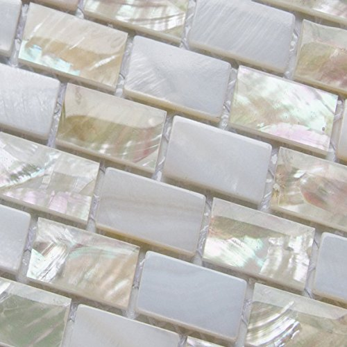 Perlmutt Mosaik Fliesen Fluss Bett natur Pearl Shell Mosaik Rectanguler Ziegel weiß Fliesen -