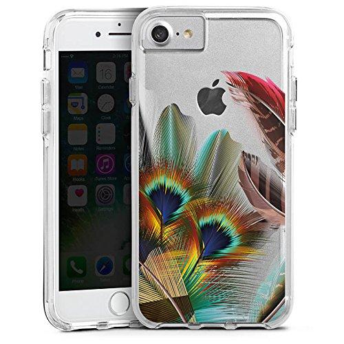 Apple iPhone 8 Bumper Hülle Bumper Case Glitzer Hülle Pfauenfedern ohne Hintergrund Pfau Bumper Case transparent