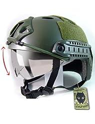Casco con gafas protectoras de estilo militar para airsoft y paintball, color verde