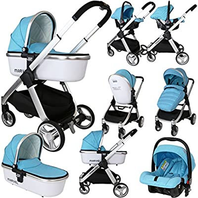 Marvel 3in1 Pram - Surf Blue (with Carrycot and Car Seat)  Chicco