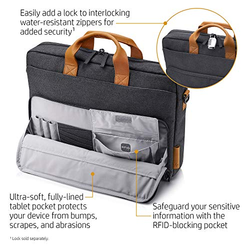 HP Envy Urban 15.6-inch Topload Laptop Briefcase with Shoulder Strap and RFID Blocking Pockets (Grey) Image 2