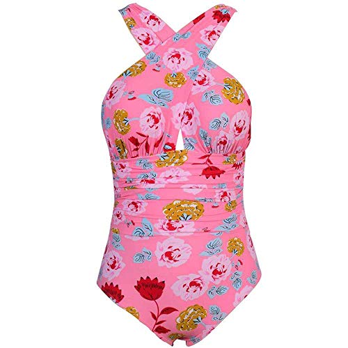 Bademode Damen Einteiler Bademode Plus Size Bikini Deep-V Druck Blumen Halfter Schwimmen Anzug Bikinis (Color : 2, Size : XL) - Halfter Plus Size Anzug