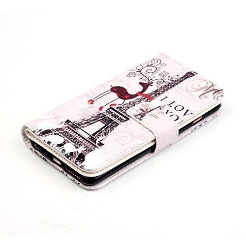 Coque iPhone 6 Plus,Coque iPhone 6S Plus, Etui iPhone 6 Plus / 6S Plus, ikasus® Coque iPhone 6 Plus / 6S Plus Bookstyle Étui Housse en Cuir Case, Coloré Lettres Peint Relief Etui Housse Cuir PU Portef Cerf Papillon Tour Eiffel
