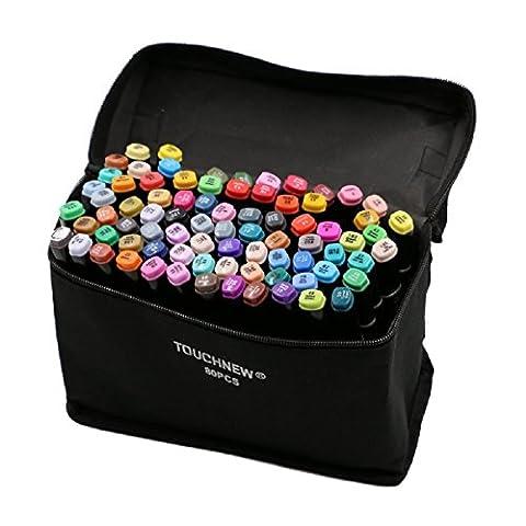 OUMIZHI-TOUCHNEW 80 Color Marqueur Pen Set Alcool Twin tip Large point fin pour l'art Dessin Graphique corps noir (pour la conception de la construction)