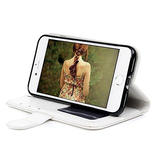 iPhone 7 Coque, Bookstyle Étui Licorne Housse Imprimé en PU Cuir Case à rabat Coque de Protection Portefeuille TPU Silicone Case pour iPhone 7 - Blue White