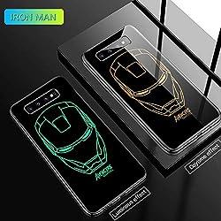 Marvel Iron Man Batman Venom Coque en Verre Lumineux pour Samsung Galaxy S7 S8 S9 S10 e 5G Plus Note 9 8 Avengers Cover Funda