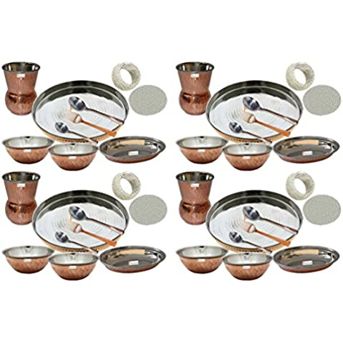 Set di 4 Prisha India artigianato indiano ® posateria in acciaio Thali rame Set 13 Dia