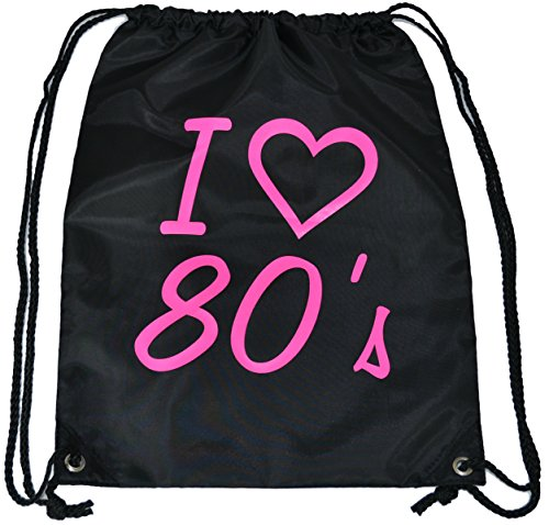 I Love the 80's Drawstring Bag with Pink Lettering